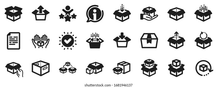 Package, delivery boxes, cargo box. Box icons. Cargo distribution, export boxes, return parcel icons. Shipment of goods, purchase container, open package. Logistics goods. Vector