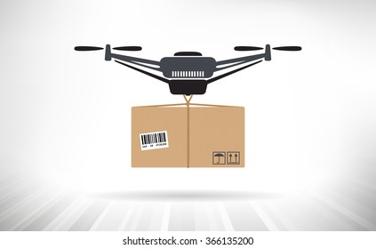 Package Delivery Drone. Concept illustration of a drone carrying a package.