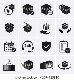 Package delivery Icons set. Vector distribution