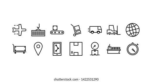 Package Delivery Line Icon Set