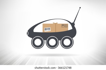 Package Delivery Robot. Concept illustration of a self-driving delivery robots carrying a package.