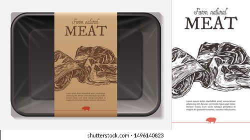Package design for farm fresh meat food, pork, ham, beef fillet with typography and sketch hand drawn slice of jamon on craft paper label or tag. Plastic foam butcher container realistic vector mockup
