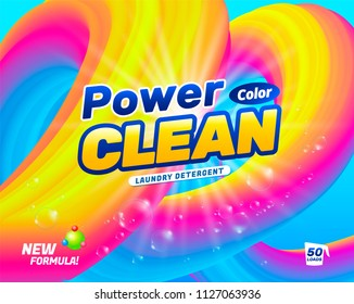 Package design template for laundry detergent. Powder for washing color linen. Vector illustration