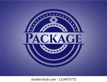 Package emblem with jean high quality background