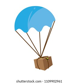 Package Flying in Parachute. Box Expedition Icon Illustration. Logistic Icon, Vector Illustration.