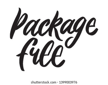 Package free hand written lettering word. Plastic free design on white background