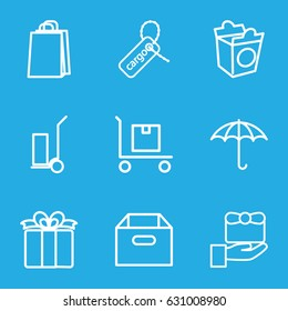 Package icons set. set of 9 package outline icons such as shopping bag, cart cargo, take away food, cargo tag, present, gift