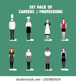 Package of Illustrations of Career and Professional People. Vector Illustrasion. Good for presentation, web design, advertising, and media social content.