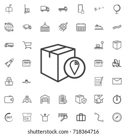 Package location line icon set isolated on white background. Vector illustration. Trendy style for logos.