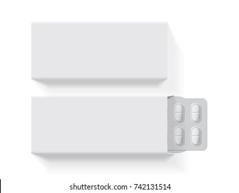 package with oval tablets medicines  mock up vector template