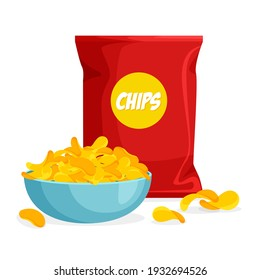 Package and plate of chips in trendy cartoon style. Pile of crisps in a bowl. Packaging template. Vector illustration isolated on white background.