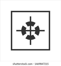 Package sign center of gravity. Simple black logistics mail box icon isolated on white background. Vector Illustration for design, infographic