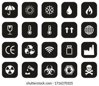 Package Symbols & Cargo Symbols Icons White On Black Flat Design Set Big