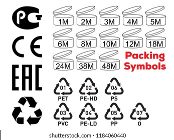 Package symbols set. Expiration month, recycle icon, CE symbol, plastic mark, EAC icon