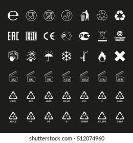 Package symbols set, vector