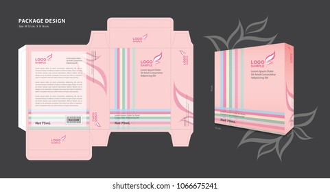 Package template design for Supplements, Cosmetics, Creams, Lotion, Spa, Beauty, Makeup, Candy, Perfume, Creative packaging idea, boxes design, 3d box, printing media, advertisement, product, vector