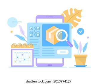Package tracking app, delivery tracking. Mobile phone with calendar and delivery service website on screen and parcel with magnifying glass. Vector illustration