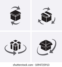 Package tracking Icons set. Vector box return