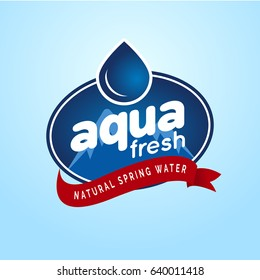 Packaged Natural Mountain Spring water logo design Label template