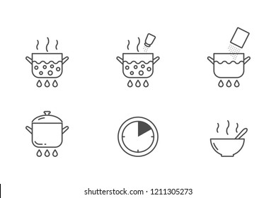 Packaged soup cooking vector icons