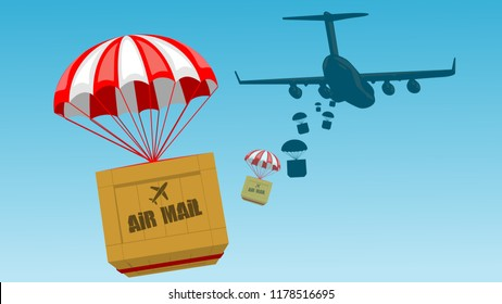 Packages are flying - Packages with parachute released from an aircraft