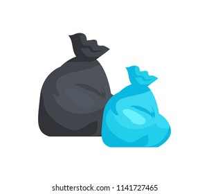Packages full of garbage of black and blue color. Litter in polyethylene sacks. Special disposable containers for trash isolated vector illustration.
