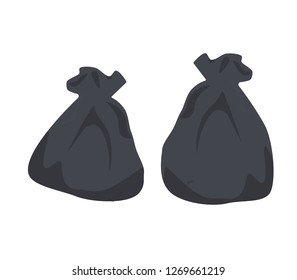 Packages with garbage.  Big black plastic bags with wastes isolated on white background. Packs full of rubbish, packets and litter. Vector illustration