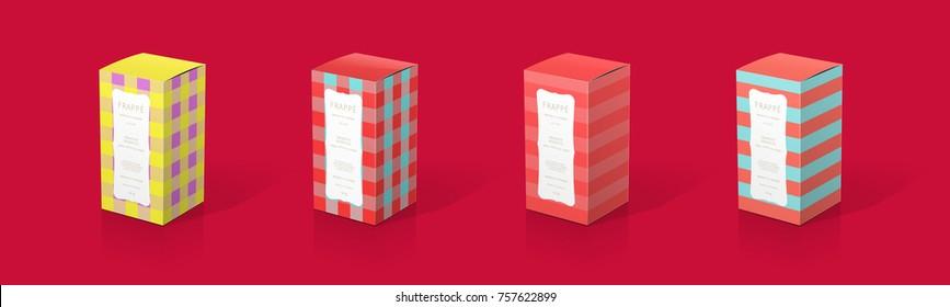 Packaging box design 3D illustration template festive holiday season stripes plaids perfume cosmetics