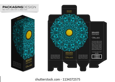 Packaging box design template layout with Mandala abstract art with golden logo vector