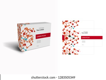 Packaging box design vector illustration. Colorful box template and mock-up box isolated on white background.