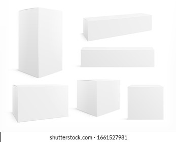 Packaging box. White boxes pack, 3d packages for products. Isolated medical cardboard block. Realistic paper packets vector blank mockup set