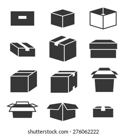 Packaging boxes icons isolated on white background vector set