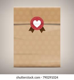 Packaging Brown Paper Bag vector coffee badge vintage style EPS10