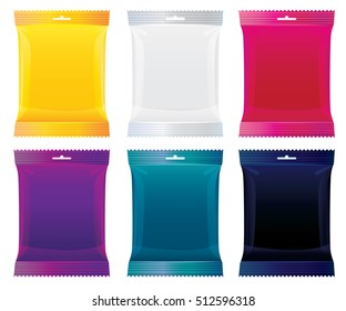 packaging for candy, chocolate and other products. vector illustration. package set of orange, clear, purple, blue, red, black
