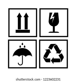 Packaging cargo symbols in form of stamps, for wooden, cardboard boxes. Meaning environmental friendliness, fragility of cargo, need for protection from moisture, cargo marking. Vector illustration.