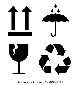 Packaging cargo symbols in form of stamps, for wooden, cardboard boxes. Meaning environmental friendliness, fragility of cargo, need for protection from moisture, cargo marking.
