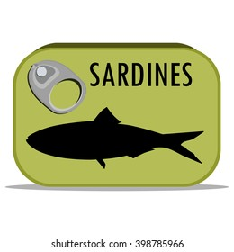 Packaging collection. Vector illustration can of sardines. Canned food