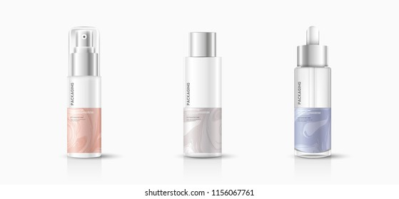 Packaging cosmetic cream, lotion and spray template vector design illustration.