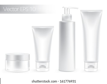 Packaging cream containers white color. Beauty products set.