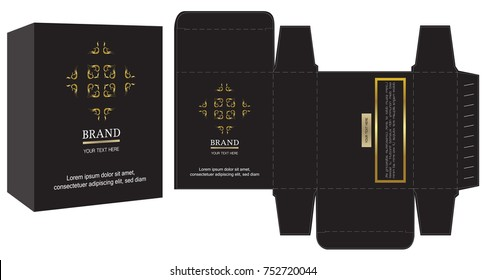 Packaging design, black and gold luxury box design template and mockup box. Illustration vector.