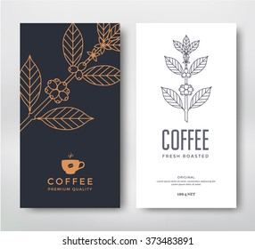 Packaging design for coffee. Vector template. Line style illustration. Coffee branch.