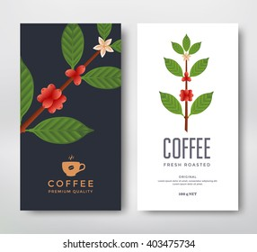 Packaging design for a coffee. Vector template package. Coffee branch vector illustration. Coffee plant with coffee berry.