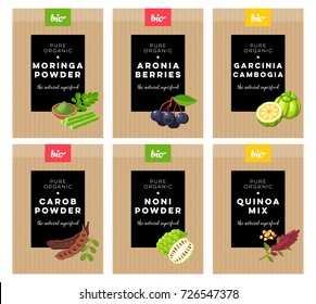 Packaging design. Concept label for natural superfood marketing . moringa, aronia, carob, noni, quinoa, garcinia cambogia. Vector flat template.