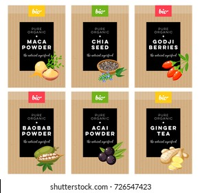 Packaging design. Concept label for natural superfood marketing . Maca, chia, godji, baobab, acai, ginger. Vector flat template.