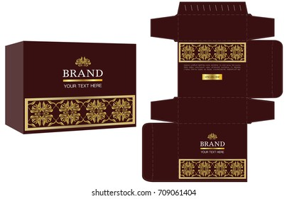 packaging design, gold luxury box design template and mockup box. Illustration vector