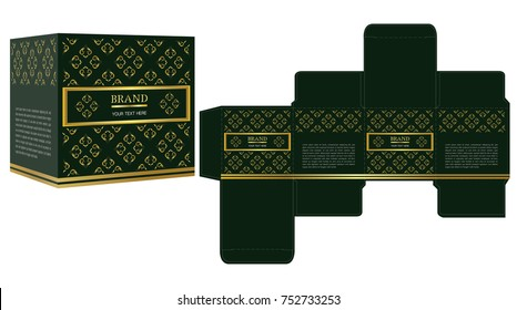 Packaging design, green and gold luxury box design template and mockup box. Illustration vector.