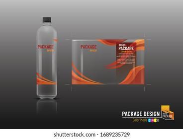 Packaging design, label & bottles for drinks, mock up-Vector illustration