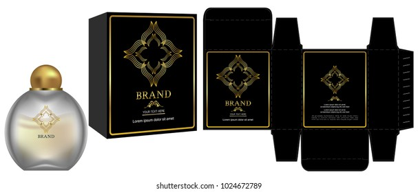 Packaging design, Label on cosmetic container with black and gold luxury box template and mockup box. illustration vector.