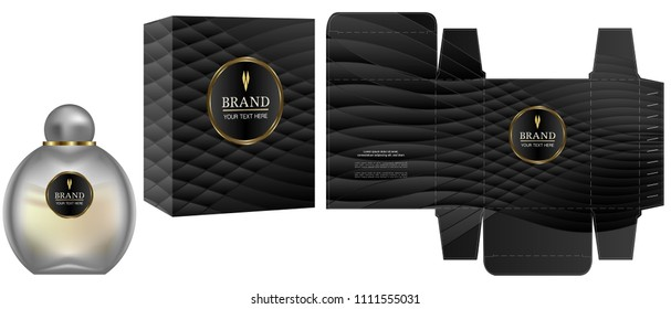 Packaging design, Label on cosmetic container with black luxury box template and mockup box, illustration vector.