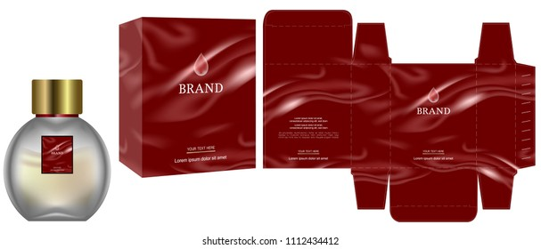 Packaging design, Label on cosmetic container with red luxury box template and mockup box, illustration vector.